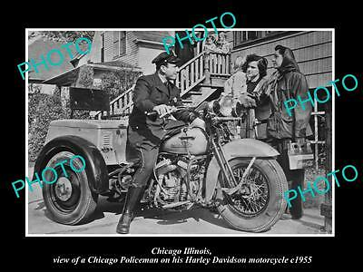 OLD HISTORIC PHOTO OF CHICAGO ILLINOIS, HARLEY DAVIDSON POLICE MOTORCYCLE c1955