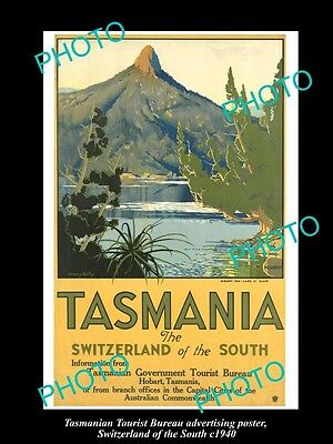 OLD LARGE HISTORIC PHOTO TASMANIA TOURISM POSTER, SWITZERLAND OF THE SOUTH c1940