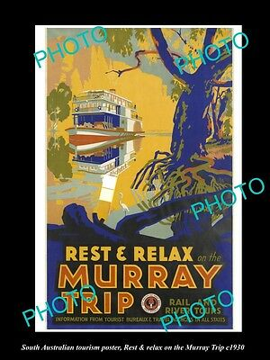OLD LARGE HISTORIC PHOTO OF SOUTH AUSTRALIA TOURISM POSTER c1930, MURRAY RIVER