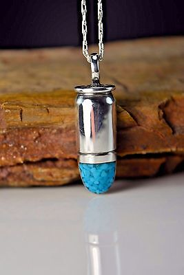 "Sterling silver ""38 AUTO"" Bullet pendant w crushed Kingman Turquoise inlay"