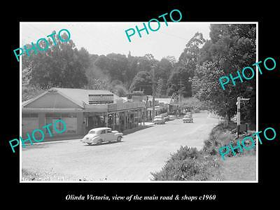 OLD LARGE HISTORIC PHOTO OF OLINDA VICTORIA, VIEW OF MAIN ROAD & SHOPS c1960