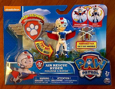 Nickelodeon Paw Patrol Air Rescue Ryder Figurine and Badge New