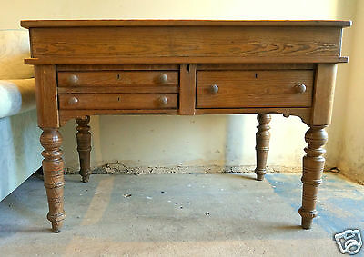 Victorian antique pitch pine lidded sewing/ craft table/ desk