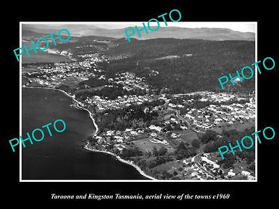 OLD LARGE HISTORIC PHOTO OF TAROONA KINGSTON TASMANIA, AERIAL VIEW OF TOWN c1960