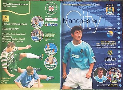 Manchester City V TNS Wales Home & Away 2003 UEFA Cup Football Match Programmes