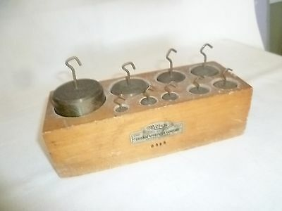 Milvay Scientific Insturments Brass gram weights for beam scale. Rare with hooks