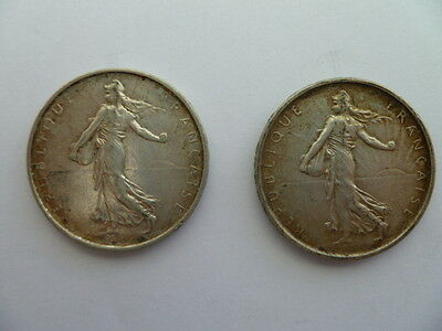 French 5 Franc Coins X 2 Silver 1963 And 1964