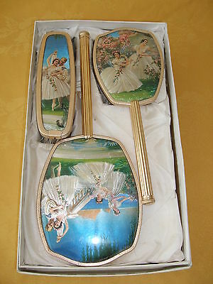 Vintage 3 Piece Boxed Dressing Table Set Depicting Ballet Dancers.