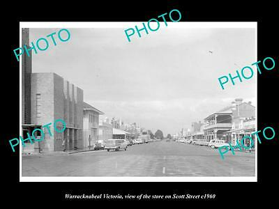 OLD LARGE HISTORIC PHOTO OF WARRACKNABEAL VICTORIA, VIEW OF SCOTT STREET c1960