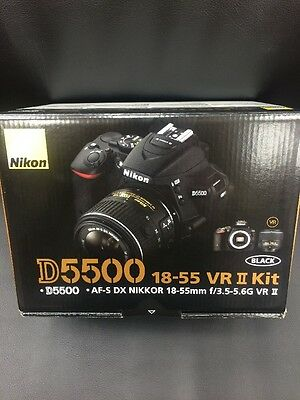 Brand NEW Nikon D5500 Kit W/ 18-55 VR ii Lens USA Version Black Color 24.2 WIFI