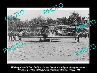 Old Large Historic Photo Of Washington Dc, First Airmail Flight, Polo Field 1918