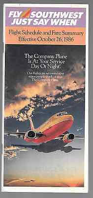 ***1986 Southwest Airlines System Timetable - October 26, 1986***