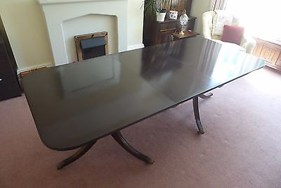 Large Antique Regency Style Double Pedestal Extendable Mahogany Dining Table
