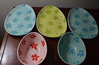 NEW Easter Egg Shaped 3-Plates Dishes 2-Bowls Spring Bright Flowers Candy Dish