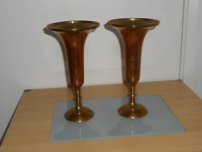 Pair Vintage Brass vases, World War II