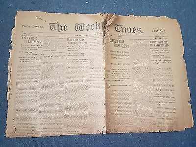 Antique newspaper The Weekly Times from Hartford CT 1913