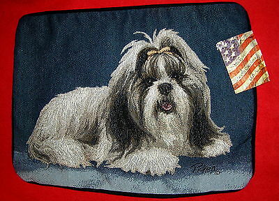 Shih Tzu Dog Needlepoint Tapestry Woven Pillow Cover Nwt Puppy Made In Usa Case