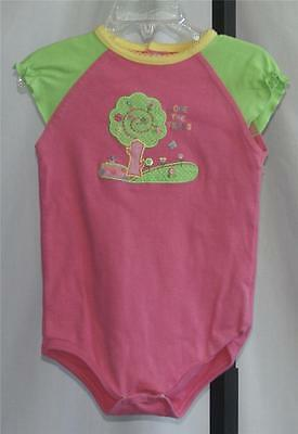 TODDLER GIRLS OKIE DOKIE 1 Pc Pink & Green Embroidered Playsuit Size 18 Months