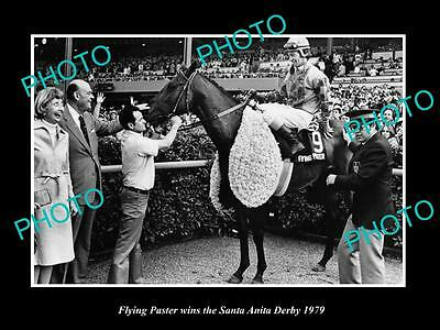 Old Large Historic Photo Of Flying Paster Winning The 1979 Santa Anita Derby