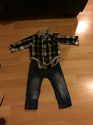 lady bird outfit checked shirt and jeans 6-9 months