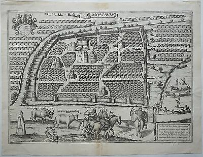 Russia 1575 Antique Copper Engraving City View Map Moscow Braun & Hogenberg