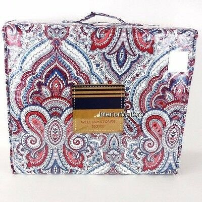 Williamstown Bandana KING QUILT PAISLEY Red White Blue 100% Cotton new