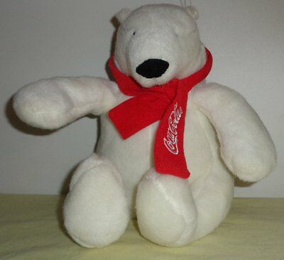 2007 Best Play Intn'l Coca-Cola White Polar Bear Plush Stuffed Animal Red Scarf