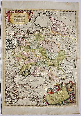 Russia 1692 Original Antique Map Estonia Belarus Ukraine Finland Coronelli