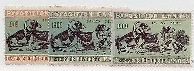 1909 Paris - Dogs - 3 Different Dog Expo Poster Stamp Reklamemarken