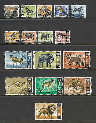 Kenya 1966 Animals Set of 16. SG 20 - 35. Used