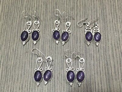 WHOLESALE LOT 5 pcs AMETHYST STONE.925 SILVER PLATED EARRING 32 GMS