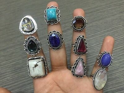 10Pcs. Lot Multi Stone Top Rich 925 Silver Overlay Ring KA914