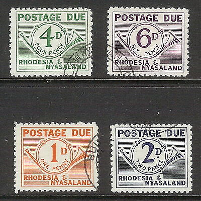 Rhodesia & Nyasaland 1961 Postage Due Set of 4. SG D1 - D4. Used