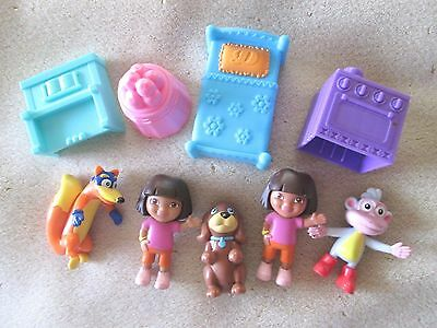 Lot of 9 PVC Dora and Friends Little Figures and Some  Furniture Items