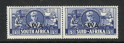 South West Africa 1941 3d Blue War Effort with Cigarette flaw. SG 117a. MLH