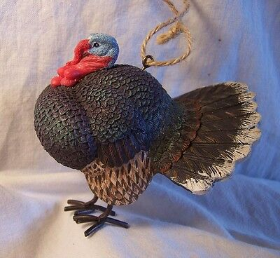 "New Resin Figurine Ornament w/ Metal Feet TOM TURKEY Strutting Displaying 3""x3½"""