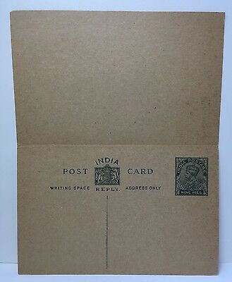 Near Mint Antique POST CARD:  India - India Postage Nine Pies - Unposted