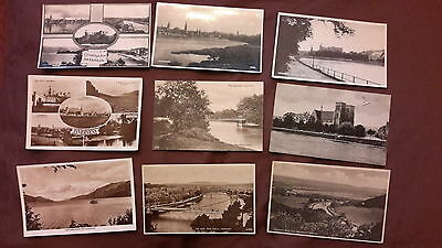 9 x Old postcards of Inverness, Scotland - The Islands, Cathedral, Castle, Loch