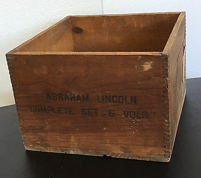 Antique DoveTail Wood Crate ABRAHAM LINCOLN book shipping BOX