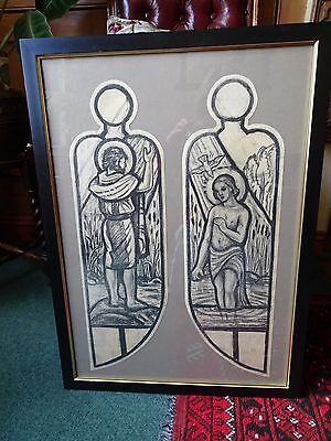 Arts and Crafts/Pre-Raph genuine original stained glass design drawings, framed