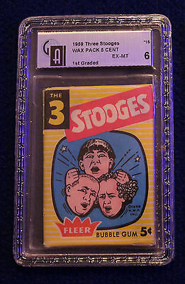 1959 FLEER THE 3 THREE STOOGES CARDS UNOPENED WAX PACK! GAI Graded Very Rare!