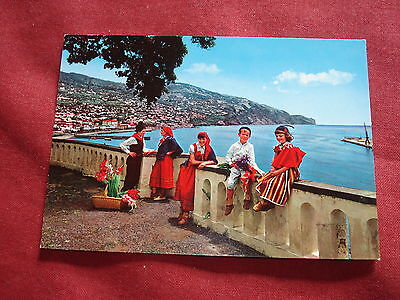 VINTAGE PORTUGAL: MADEIRA FUNCHAL panorama with young dancers colour