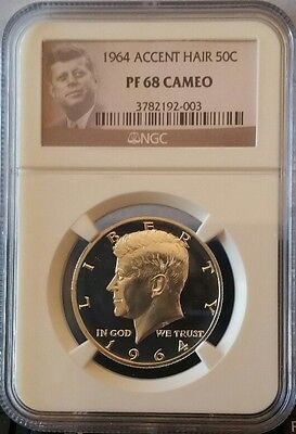 1964 Ngc Pr68 Cameo Kennedy Accented Hair Half Dollar Proof High Grade Low Pop