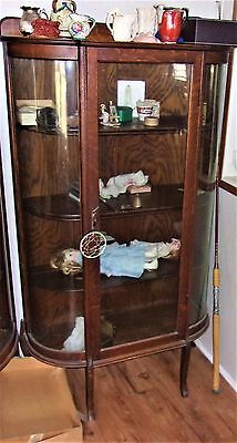 Vintage   Oak China Cabinet with Curved Glass estate #2