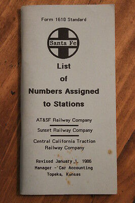 Original Santa Fe Railway List Of Numbers Assigned To Stations- January 1,1986