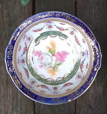 Antique Vintage Blue Gold Pink White Floral Dish Bowl Unmarked