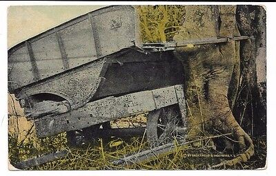 PANAMA Canal Zone antique 1914 db post card Abandoned French Machinery from 1888