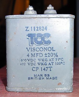 1x TCC Visconol 4uF 600VDC wkg oil filled capacitor (5 available)
