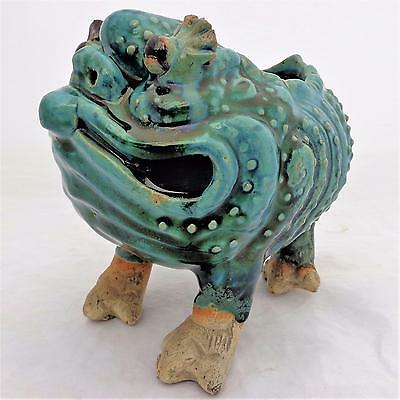 Antique Chinese Shiwan Stoneware Green Glazed Three Legged Toad Planter - 19th C