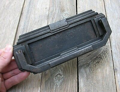 Old Art Deco Cast Iron Letter Box Plate with Knocker / Door Mail Slot / Mailbox